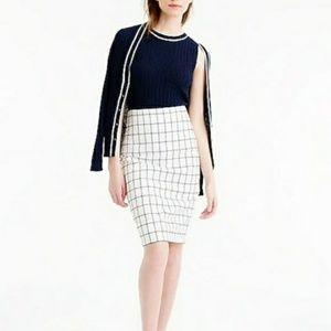 J. Crew Skirts - J Crew White and Navy Windowpane Pencil Skirt
